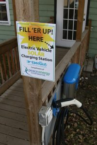 Peace Energy Co-op has a public Level 2 EV charger connected to its 5 kW solar array at home office in Dawson Creek.